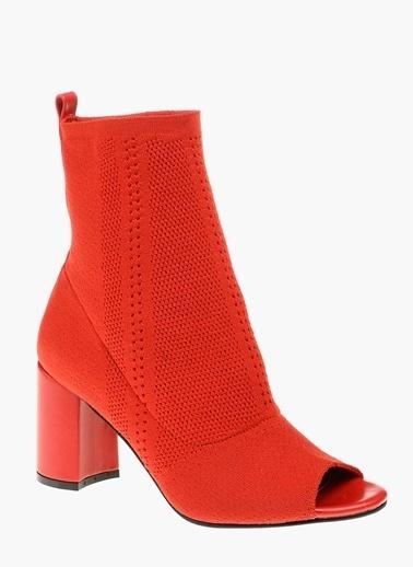 Divarese Kalın Topuklu Bot Kırmızı